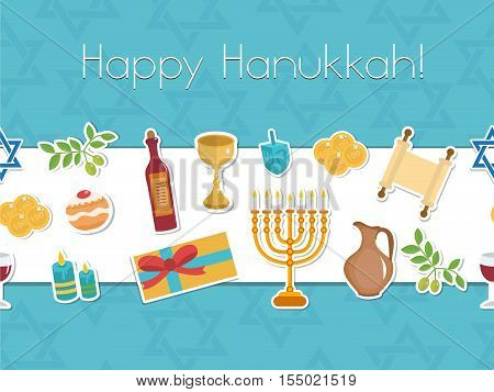 Happy Hanukkah seamless poster. Happy Hanukkah greeting card flyer invitation. Hanukkah is a Jewish holiday. Greeting Card with Menorah Sufganiyot Dreidel. Vector illustration