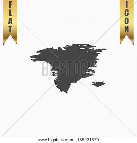 Alaska map. Flat Icon. Vector illustration grey symbol on white background with gold ribbon