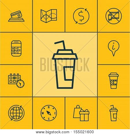 Set Of Transportation Icons On Takeaway Coffee, Drink Cup And Appointment Topics. Editable Vector Il