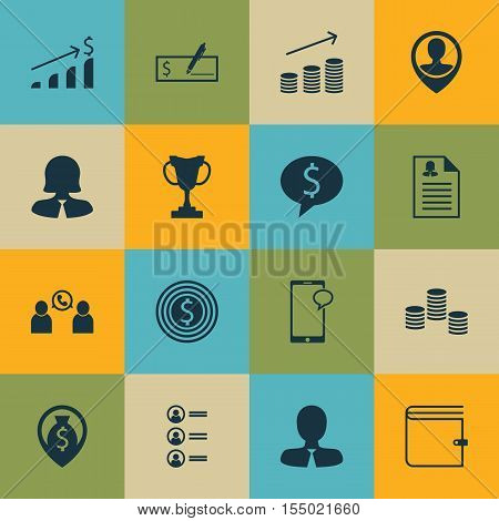Set Of Human Resources Icons On Employee Location, Business Goal And Money Navigation Topics. Editab