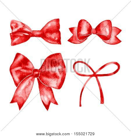 Watercolor red satin bow set. Hand painted illustration. Isolated on white