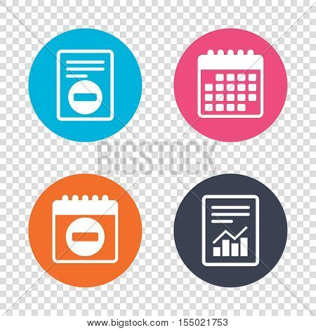 Report document, calendar icons. Stop sign icon. Prohibition symbol. No sign. Transparent background. Vector