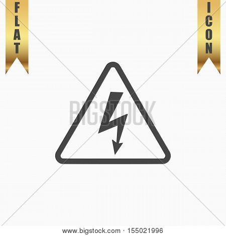 High voltage Flat Icon. Vector illustration grey symbol on white background with gold ribbon