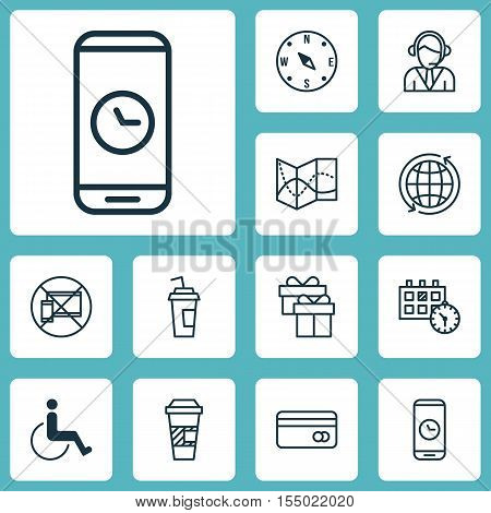 Set Of Airport Icons On Call Duration, Present And Operator Topics. Editable Vector Illustration. In