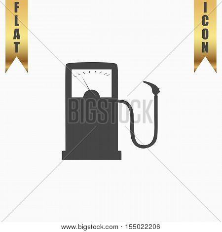 Gas station. Flat Icon. Vector illustration grey symbol on white background with gold ribbon