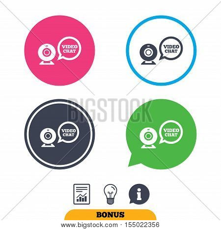 Video chat sign icon. Webcam video speech bubble symbol. Website webcam talk. Report document, information sign and light bulb icons. Vector