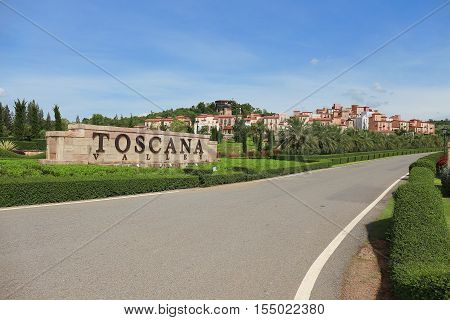 NAKHON RATCHASIMA THAILAND MAY 11 2014: Scenic view of one hotel & resort town made of Toscana Valley theme in italian style and place of travel at Pak Chong Korat Nakhon Ratchasima Thailand