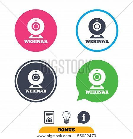 Webinar web camera sign icon. Online Web study symbol. Website e-learning navigation. Report document, information sign and light bulb icons. Vector
