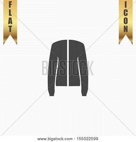 Jacket. Flat Icon. Vector illustration grey symbol on white background with gold ribbon
