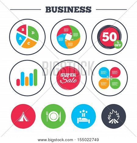 Business pie chart. Growth graph. Food, sleep, camping tent and fire icons. Knife, fork and dish. Hotel or bed and breakfast. Road signs. Super sale and discount buttons. Vector