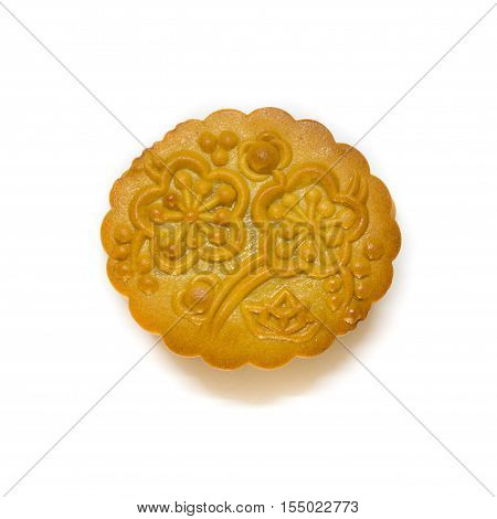 Mid-Autumn Festival moon cake isolated on white background. clipping path