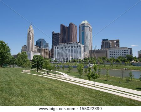 Downtown Columbus Ohio Skyline including the Leveque Tower along the Scioto Mile