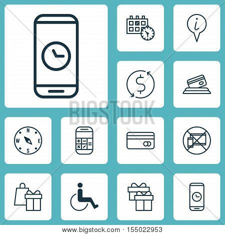Set Of Airport Icons On Present, Appointment And Forbidden Mobile Topics. Editable Vector Illustrati