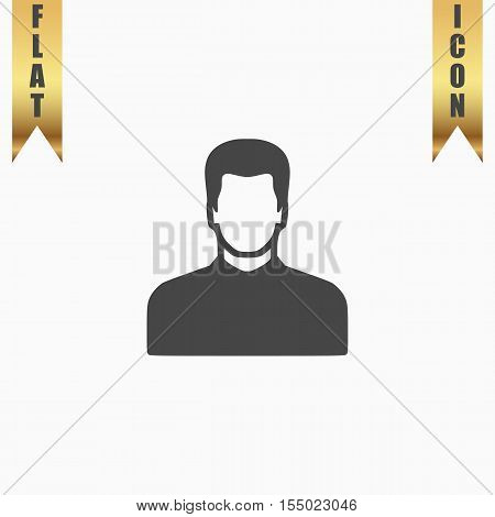 Male avatar profile picture. Flat Icon. Vector illustration grey symbol on white background with gold ribbon