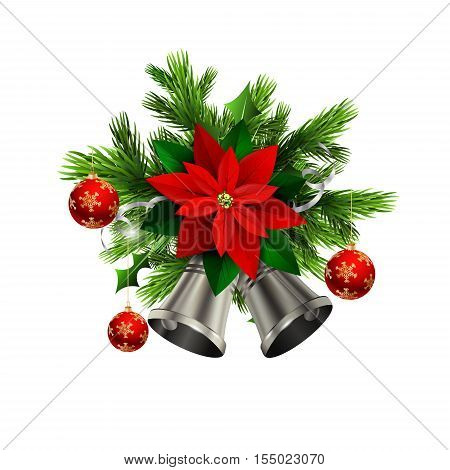Christmas decoration with evergreen trees and silver bells with poinsettia and balls
