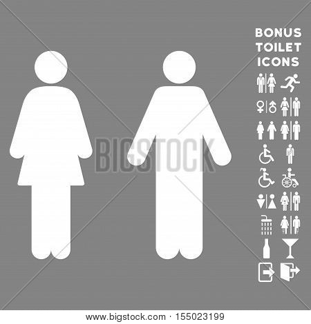 WC Persons icon and bonus man and female lavatory symbols. Vector illustration style is flat iconic symbols, white color, gray background.