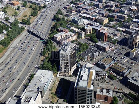 SEATTLE-- JUNE 25: Aerial view of downtown Seattle building and Highway on June 25 2016 in Seattle WA.