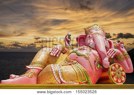 Beautiful Ganesh statue on blue sky at wat saman temple in Prachinburi province of thailand Is highly respected by the people of Asia