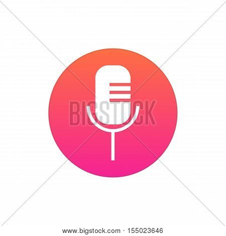 Microphone icon vector, clip art. Also useful as logo, circle app icon, web UI element, symbol, graphic image, silhouette and illustration.