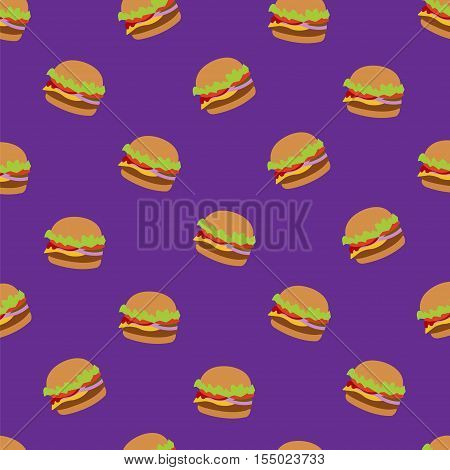 Seamless vector pattern with flat style burger image. Burger purple background. Image of flat burger. Burger icon seamless background. Purple pattern with burger.