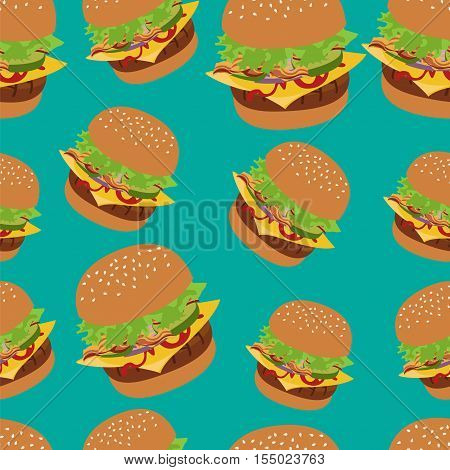 Seamless vector pattern with burger image. Cheeseburger green background. Image of burger. Burger icon seamless background. Green pattern with burger. Cheeseburger illustration.