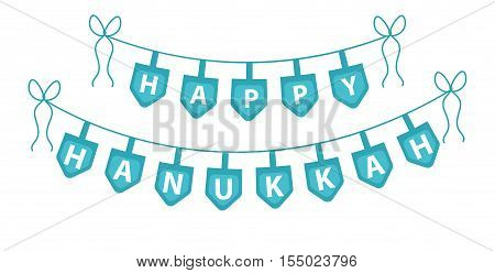 Happy Hanukkah garland ribbon. Hanukkah garland for party. Hanukkah Jewish festival of decorative elements. Hanukkah garland flat style. Vector illustration