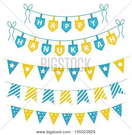Hanukkah set garlands ribbons. Hanukkah set for a party. Hanukkah Jewish festival of decorative elements. Hanukkah garland flat style. Vector illustration