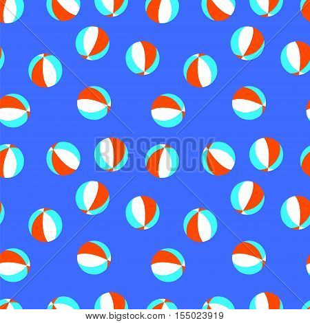 Seamless vector pattern with red, white and blue beach balls. Beach balls blue background. Seamless blue pattern with balls.