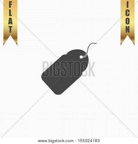 Tag. Flat Icon. Vector illustration grey symbol on white background with gold ribbon