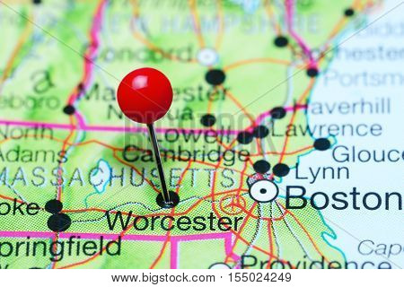 Worcester pinned on a map of Massachusetts, USA