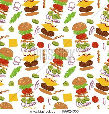 Hamburger seamless vector pattern. Burgers and ingredients for cheeseburger seamless background. Pattern with burgers on white background.