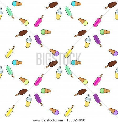 Ice cream, popsicle, frozen yogurt seamless vector pattern. White background. Ice vream colorful pattern. Illustration of different ice cream. Seamless pattern with ice cream.