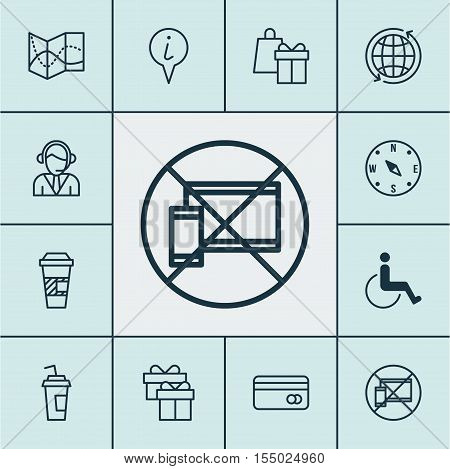 Set Of Traveling Icons On Accessibility, Locate And Operator Topics. Editable Vector Illustration. I