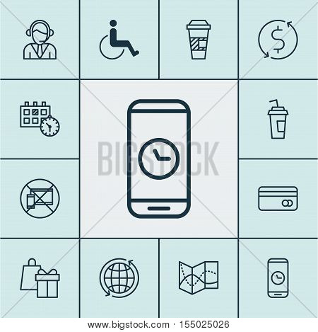 Set Of Traveling Icons On Forbidden Mobile, Operator And Shopping Topics. Editable Vector Illustrati