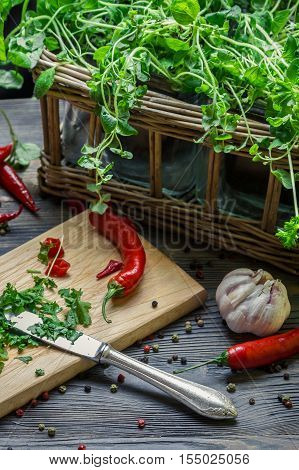 Harvesting homegrown spices for spring meal on old wooden table
