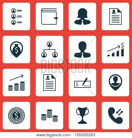 Set Of Management Icons On Wallet, Curriculum Vitae And Business Woman Topics. Editable Vector Illus