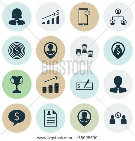 Set Of Human Resources Icons On Money Navigation, Business Woman And Business Deal Topics. Editable