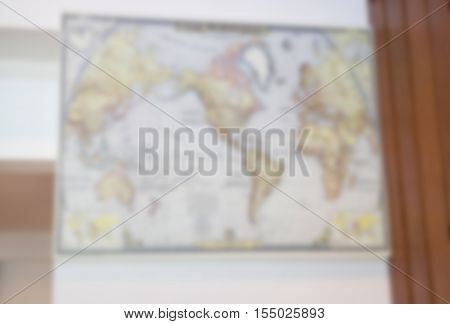Blur world map on wall stock photo