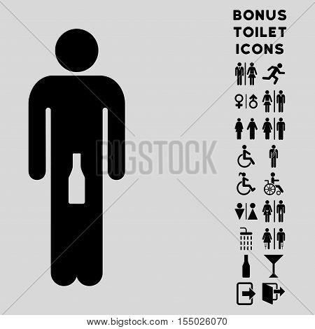 Man icon and bonus man and lady WC symbols. Vector illustration style is flat iconic symbols, black color, light gray background.