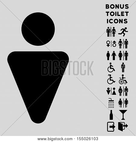Man icon and bonus male and woman WC symbols. Vector illustration style is flat iconic symbols, black color, light gray background.