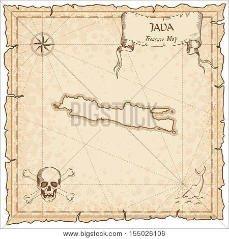 Java Old Pirate Map. Sepia Engraved Parchment Template Of Treasure Island. Stylized Manuscript On Vi