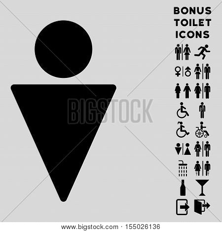 Man icon and bonus gentleman and female restroom symbols. Vector illustration style is flat iconic symbols, black color, light gray background.