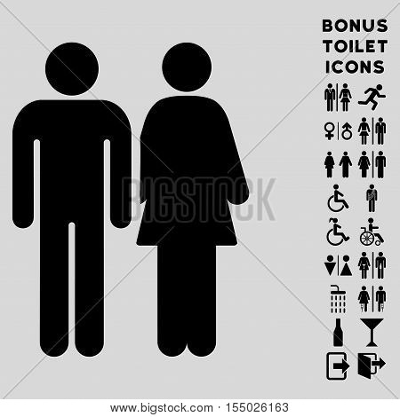 Married Couple icon and bonus male and woman lavatory symbols. Vector illustration style is flat iconic symbols, black color, light gray background.