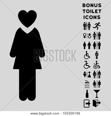 Mistress icon and bonus gentleman and female toilet symbols. Vector illustration style is flat iconic symbols, black color, light gray background.
