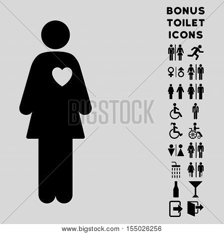 Mistress icon and bonus man and woman toilet symbols. Vector illustration style is flat iconic symbols, black color, light gray background.