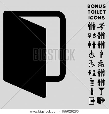 Open Door icon and bonus man and female restroom symbols. Vector illustration style is flat iconic symbols, black color, light gray background.