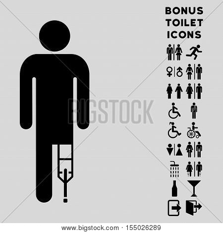 Patient Man icon and bonus man and woman WC symbols. Vector illustration style is flat iconic symbols, black color, light gray background.