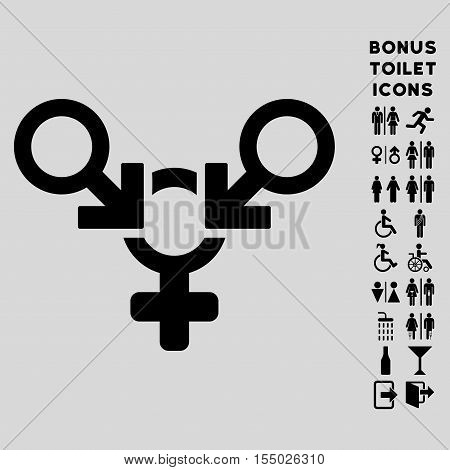 Polyandry icon and bonus gentleman and female WC symbols. Vector illustration style is flat iconic symbols, black color, light gray background.