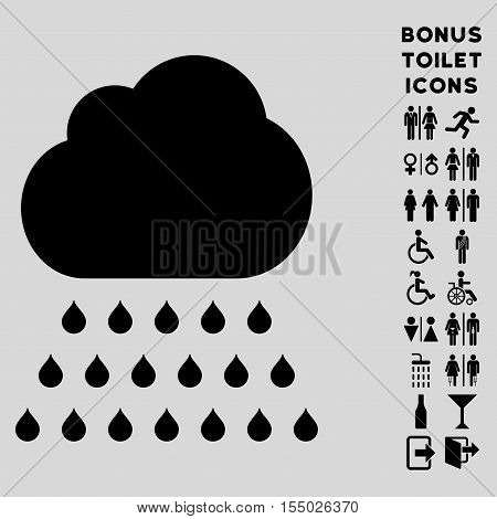Rain Cloud icon and bonus man and woman WC symbols. Vector illustration style is flat iconic symbols, black color, light gray background.