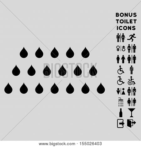 Rain Drops icon and bonus gentleman and woman restroom symbols. Vector illustration style is flat iconic symbols, black color, light gray background.